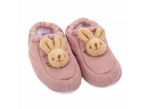 Chaussons lapin 0-2 ans - lin vieux rose