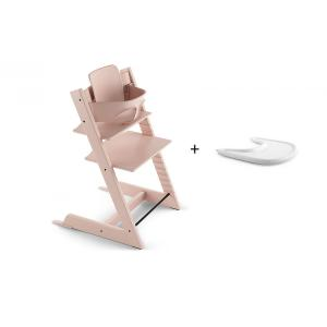 Stokke - BU156 - Promotion chaise TRIPP TRAPP Rose Poudre avec Baby Set et Tablette OFFERTE (404356)