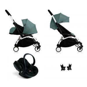 Babyzen - Bu111 - Poussette Yoyo+ complète cadre blanc habillages 0+ et 6+ Aqua et siège auto iZi Go Modular noir (405752)