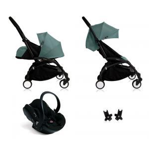 Babyzen - Bu112 - Poussette Yoyo+ complète cadre noir habillages 0+ et 6+ Aqua et siège auto iZi Go Modular noir (405754)
