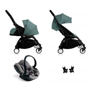Babyzen - Bu115 - Poussette Yoyo+ complète cadre noir habillages 0+ et 6+ Aqua et siège auto iZi Go Modular gris (405760)