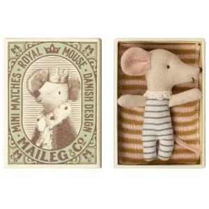 Maileg - 16-9711-01 - Baby mouse, Sleepy/wakey in box - Boy - Taille 8 cm - de 0 à 36 mois (406500)
