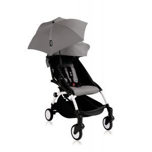 Babyzen - Bu124 - Poussette YOYO+ 6+ (cadre blanc) Gris et son ombrelle (406642)