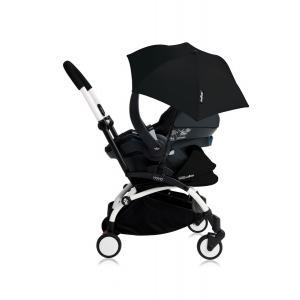Babyzen - Bu175 - Poussette YOYO+ tout-en-un (cadre blanc) pack naissance Noir siège-auto Izigo Modular noir et ombrelle (406738)