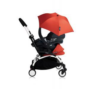 Babyzen - Bu177 - Poussette YOYO+ tout-en-un (cadre blanc) pack naissance Rouge siège-auto Izigo Modular noir et ombrelle (406742)