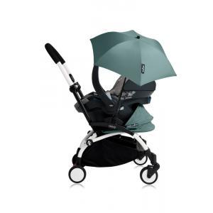 Babyzen - Bu191 - Poussette YOYO+ tout-en-un (cadre blanc) pack naissance Aqua siège-auto Izigo Modular gris et ombrelle (406770)