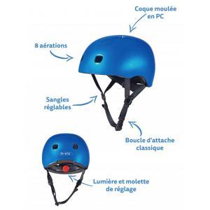 Micro - AC2082 - Casque Bleu foncé brillant - Nouvelle gamme - lumière LED intégrée - Taille S      !! NOUVEAU !! (408568)