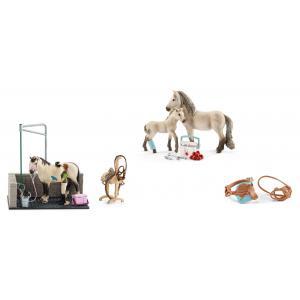 Schleich - bu025 - Figurines de chevaux et accessoires ( Box de lavage, Kit de secours , Selle de concours + bride) (411930)