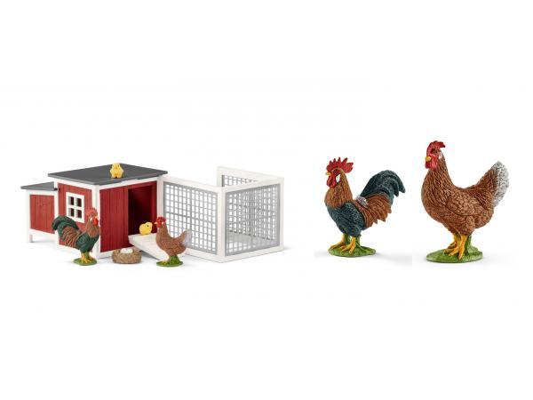 Figurines animaux de la ferme ( poulailler, poule, coq)
