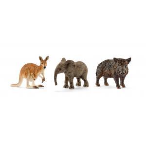 Schleich - bu032 - Figurines Animaux sauvages (Éléphanteau, Kangourou, Sanglier) (411944)