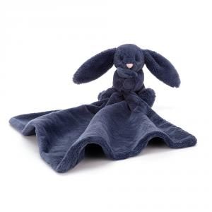 Jellycat - SO4NB - Doudou plat lapin Bashful Soother bleu - L = 6 cm x l = 7 cm x H =34 cm (413352)