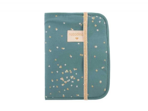 Protège carnet de santé poème gold confetti magic green