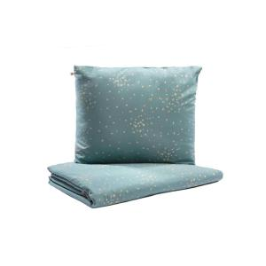 Nobodinoz - N111377 - Housse de couette + taie Himalaya junior Gold confetti magic green (413612)