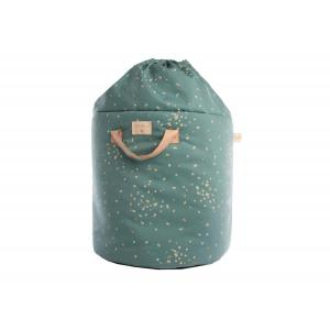 Nobodinoz - N111537 - Sac de jouets Bamboo Small Gold confetti magic green (413634)