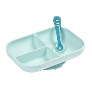Beaba - 913455 - Set repas silicone 2 pièces compartimenté - blue (413732)