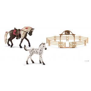 Schleich - bu074 - Figurine chevaux avec manège avec portail - équestre rocky mountain, poulain knabstrupper (414010)