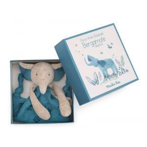 Moulin Roty - 669016 - Doudou attache-tétine éléphant Sous mon baobab (414290)