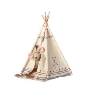 Maileg - 16-9724-01 - Little feather w. tent, Little sister mouse - Taille 8 cm - à partir de 36 mois (414718)
