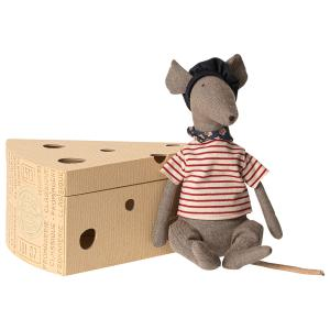 Maileg - 16-9970-00 - Rat in cheese box - Grey - Taille : 25 cm (414734)