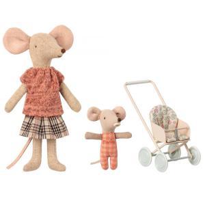 Maileg - BU012 - Maman souris poupée avec souris bébé dans la nacelle et Poussette Micro (415530)