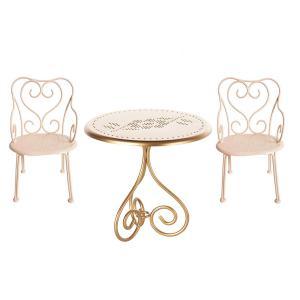 Maileg - BU024 - Set de table Basse Vintage - Or et 2 chaise Romantique, Mini - Poudre (415554)