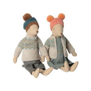Maileg - BU032 - Set de poupées souris winter moyenne - Fille et garçon - Taille: 31 cm (415570)