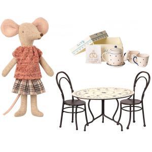 Maileg - BU034 - Set de poupées souris maman avec table à manger, mini thé & biscuits à deux - taille: 5 cm (415574)