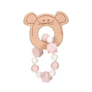 Lassig - 1313006725 - Bracelet de dentition Bois/Silicone Little Chums Souris (415626)