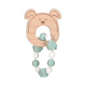 Lassig - 1313006524 - Bracelet de dentition Bois/Silicone Little Chums Chien (415628)