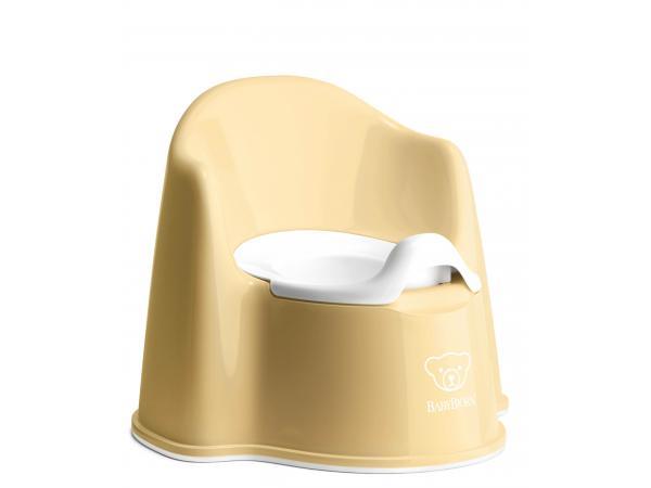 Pot fauteuil, jaune pastel/blanc