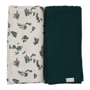 Fabelab - 28006049224 - Swaddle- Printed and solid pack- Forest Floor 120 x 120 cm (416348)