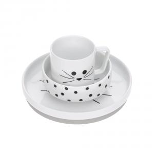 Lassig - 1210037108 - Coffret repas en porcelaine Little Chums Chat (416862)