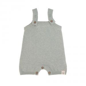 Lassig - 1531004565-80 - Combinaison tricoté courte GOTS Garden Explorer Aqua Gris 74 - 80 (7 - 12 mois) (417122)