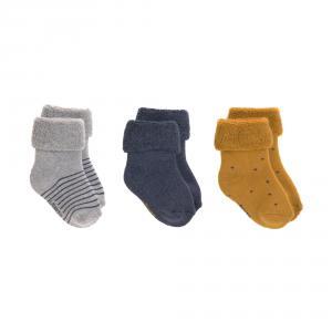 Lassig - 1532001960-12 - Lot de 3 chaussettes bébé GOTS bleu, 12 - 14 (0 - 4 mios) (417176)