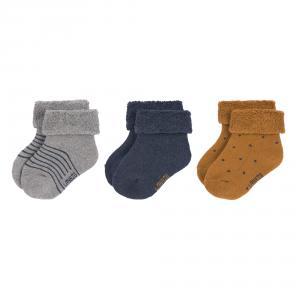 Lassig - 1532001960-15 - Lot de 3 chaussettes bébé GOTS bleu (417178)