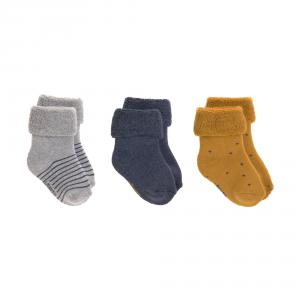 Lassig - 1532001960-19 - Lot de 3 chaussettes bébé GOTS bleu, 19 - 22 (1 - 2 ans) (417180)