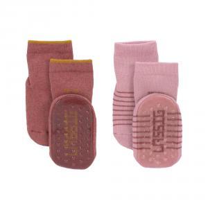 Lassig - 1532002961-27 - Lot de 2 chaussettes antidérapantes bois de rose (417188)