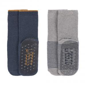 Lassig - 1532002962-23 - Lot de 2 chaussettes antidérapantes bleu/gris,,  23 - 26 (2 - 4 ans) (417194)