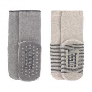 Lassig - 1532002963-23 - Lot de 2 chaussettes antidérapantes gris/beige (417202)