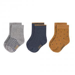 Lassig - 1532003960-23 - Lot de 3 chaussettes GOTS bleu, Taille: 23-26 (417232)