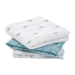 Aden and Anais - 7252 - Pack de 3 musy-langes en mousseline de coton paisley - teal (417366)