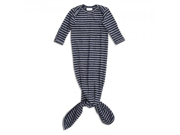 Grenouillère nouée maille ultra-cosy navy stripe (taille: 0 - 3 mois)