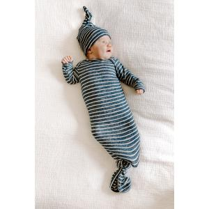 Aden and Anais - AKGN10003 - Grenouillère nouée maille ultra-cosy navy stripe (taille: 0 - 3 mois) (417464)