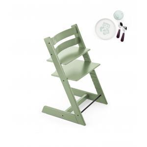 Stokke - BU195 - Tripp trapp chaise haute enfant vert mousse et munch coffret repas essentiels (418244)