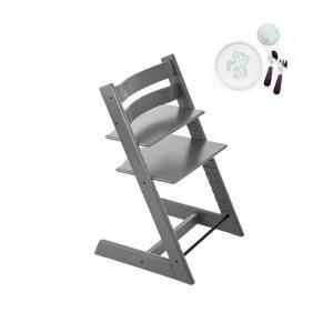 Stokke - BU193 - Tripp trapp chaise haute gris tempête et coffret munch essentiels (418246)