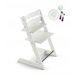 Stokke - BU164 - Tripp trapp blanc chaise qui grandit avec l'enfant et coffret repas essentiels (418252)