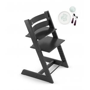 Stokke - BU162 - Tripp trapp Stokke chaise haute noir avec coffret repas essentiels (418256)
