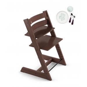 Stokke - BU163 - Tripp trapp chaise haute noyer Stokke avec coffret repas essentiels (418258)