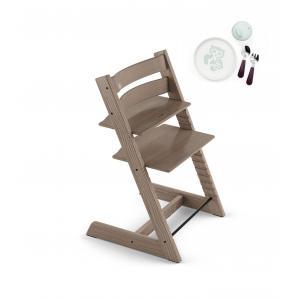 Stokke - BU201 - Chaise haute enfant Tripp trapp frêne taupe et coffret munch essentiels repas (418266)