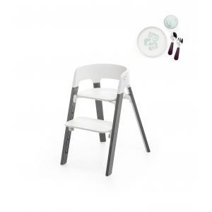 Stokke - BU168 - Chaise Stokke steps et Munch coffret essentiels (Hêtre gris tempête, assise blanc) (418272)